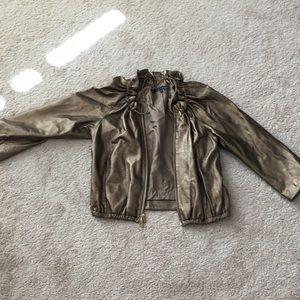 Anne Klein crushed bronze leather elastic waist